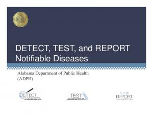 DETECT, TEST, and REPORT. Alabama Department of Public Health (ADPH)