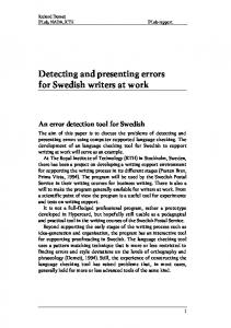 Detecting and presenting errors for Swedish writers at work