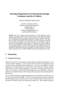 Detecting Plagiarism in Text Documents through Grammar-Analysis of Authors