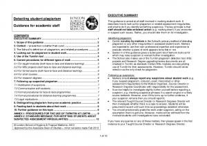 Detecting student plagiarism. Guidance for academic staff EXECUTIVE SUMMARY