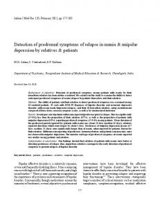 Detection of prodromal symptoms of relapse in mania & unipolar depression by relatives & patients