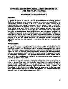 DETERMINACION DE METALES PESADOS EN SEDIMENTO DEL LAGO COCIBOLCA, NICARAGUA