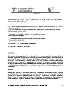 DETERMINANTES DE LA CALIDAD DE VIDA PERCIBIDA EN ANCIANOS INSTITUCIONALIZADOS
