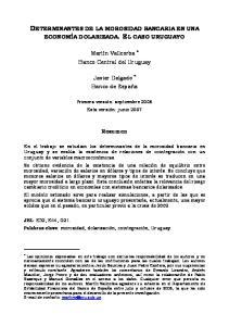 DETERMINANTES DE LA MOROSIDAD BANCARIA EN UNA