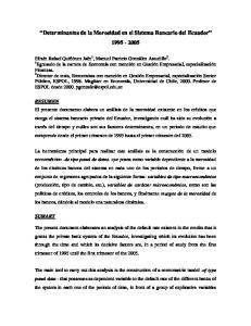 Determinantes de la Morosidad en el Sistema Bancario del Ecuador
