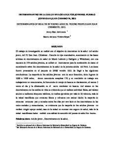 DETERMINANTES DE LA SALUD EN LOS ADULTOS JOVENES. PUEBLO JOVEN SAN JUAN CHIMBOTE, 2013