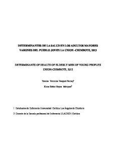 DETERMINANTES DE LA SALUD EN LOS ADULTOS MAYORES VARONES DEL PUEBLO JOVEN LA UNION -CHIMBOTE, 2013