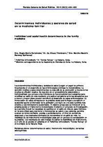 Determinantes individuales y sociales de salud en la medicina familiar