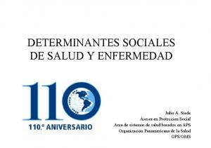 DETERMINANTES SOCIALES DE SALUD Y ENFERMEDAD