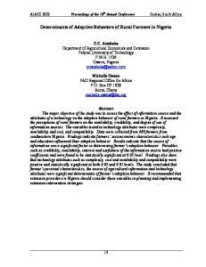 Determinants of Adoptive Behaviors of Rural Farmers in Nigeria