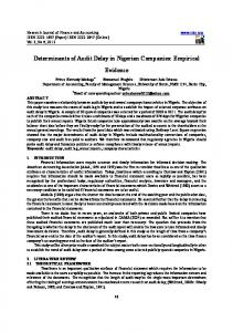 Determinants of Audit Delay in Nigerian Companies: Empirical. Evidence
