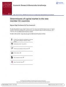 Determinants of capital market in the new member EU countries