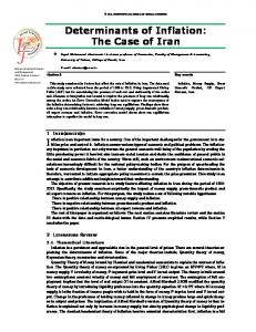 Determinants of Inflation: The Case of Iran