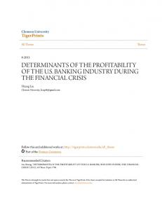 DETERMINANTS OF THE PROFITABILITY OF THE U.S. BANKING INDUSTRY DURING THE FINANCIAL CRISIS