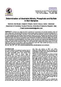 Determination of Available Nitrate, Phosphate and Sulfate in Soil Samples