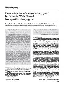 Determination of Helicobacter pylori in Patients With Chronic Nonspecific Pharyngitis