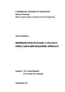 DETERMINATION OF SLURRY S VISCOSITY USING CASE BASED REASONING APPROACH