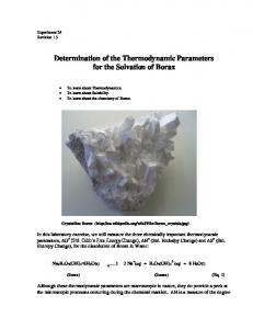 Determination of the Thermodynamic Parameters for the Solvation of Borax