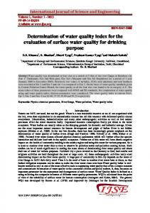 Determination of water quality index for the evaluation of surface water quality for drinking purpose
