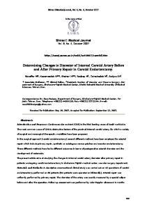Determining Changes in Diameter of Internal Carotid Artery Before and After Primary Repair in Carotid Endarterctomy