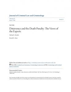 Deterrence and the Death Penalty: The Views of the Experts