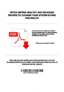DETOX DIETING HEALTHY AND DELICIOUS RECIPES TO CLEANSE YOUR SYSTEM EATING FOR HEALTH