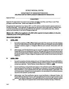 DETROIT MEDICAL CENTER DEPARTMENT OF EMERGENCY MEDICINE DELINEATION OF PRIVILEGES IN EMERGENCY MEDICINE