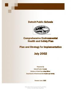 Detroit Public Schools. Comprehensive Environmental Health and Safety Plan. Department of Environmental Health and Safety
