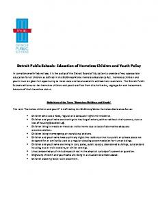 Detroit Public Schools: Education of Homeless Children and Youth Policy