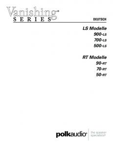 DEUTSCH. LS Modelle 900-ls 700-ls 500-ls. RT Modelle 90-rt 70-rt 50-rt