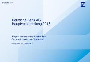 Deutsche Bank AG Hauptversammlung 2015