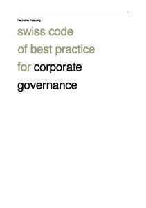 Deutsche Fassung. swiss code of best practice for corporate governance