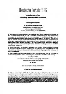 Deutsche Rohstoff AG Heidelberg, Bundesrepublik Deutschland. Wertpapierprospekt