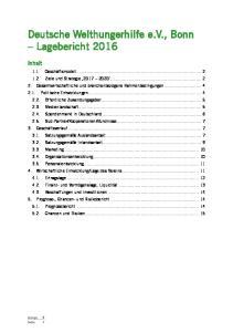 Deutsche Welthungerhilfe e.v., Bonn Lagebericht 2016