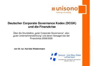 Deutscher Corporate Governance Kodex (DCGK) und die Finanzkrise