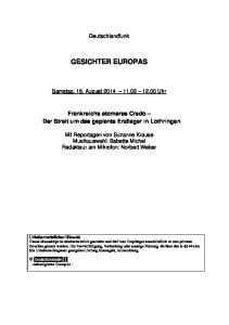 Deutschlandfunk GESICHTER EUROPAS. Samstag, 16. August Uhr