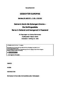 Deutschlandfunk GESICHTER EUROPAS. Samstag, 30. April Uhr