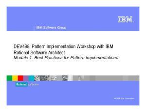 DEV498: Pattern Implementation Workshop with IBM Rational Software Architect