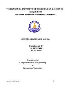 Developed By R.SRINIVAS Asst.Prof