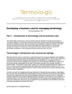 Developing a business case for managing terminology