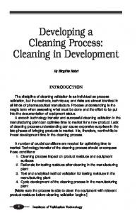 Developing a Cleaning Process: Cleaning in Development