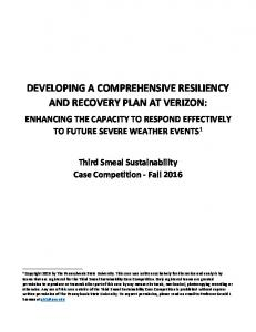 DEVELOPING A COMPREHENSIVE RESILIENCY AND RECOVERY PLAN AT VERIZON: