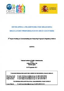 DEVELOPING A FRAMEWORK FOR MEASURING REGULATORY PERFORMANCE IN OECD COUNTRIES