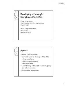 Developing a Meaningful Compliance Work Plan