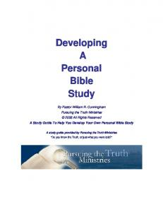 Developing A Personal Bible Study