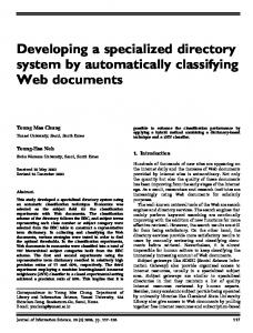 Developing a specialized directory system by automatically classifying Web documents