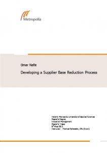 Developing a Supplier Base Reduction Process