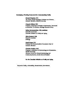 Developing a Working Framework for Understanding Frailty