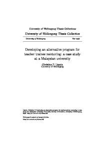 Developing an alternative program for teacher trainee mentoring: a case study at a Malaysian university