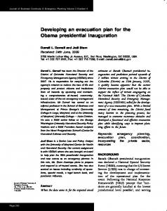 Developing an evacuation plan for the Obama presidential inauguration